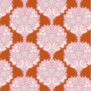 Ramos de flores en círculos sobre naranja.The harvest collectiónTilda