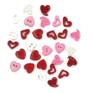 Botones de corazones rojos, rosas y blancos