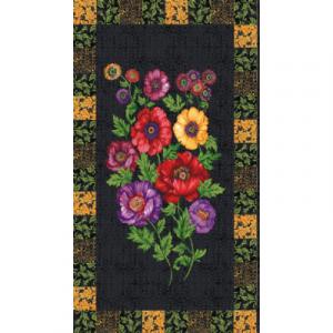 Panel de ramo de flores sobre fondo oscuro