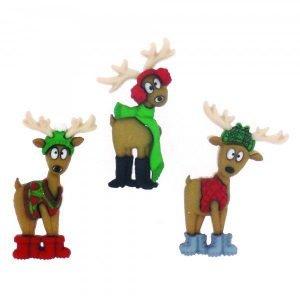 Botones con arboles de navidad en verde y dorado