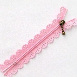Cremallera rosa con puntilla de 10 cm