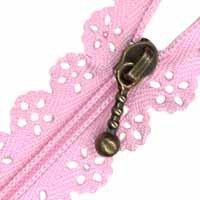Cremallera con puntilla rosa chicle de 30 cm