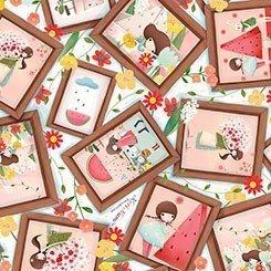Kori kumi en cuadros con flores -Melón drop