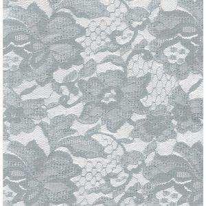 Tela de encaje en color gris plata con orilla a ambos lados