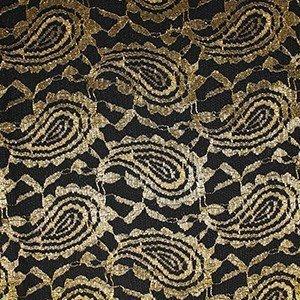 Tela de encaje en color crudo y dorado con pedreria (1.30 )