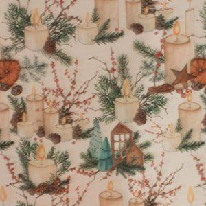 Mantel azul marino con bolas de navidad de colores