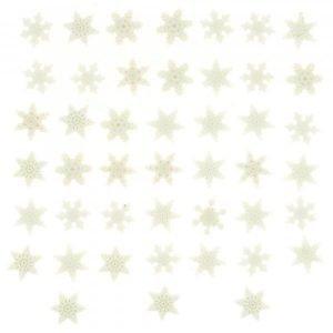Botones de estrellas y copos de nieve s en blanco