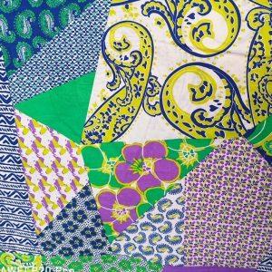 Tela de patchwork en verdes y azules