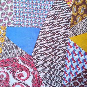 Tela de patchwork en azules y ocres
