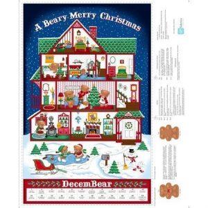 Calendario de adviento con árbol de navidad de fondo