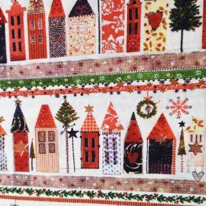 Tela roja con motivos navideños en blanco (1,50)