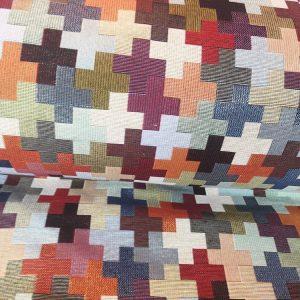 Trozo de loneta de cuadros multicolores grandes de 1,40 x50 cm