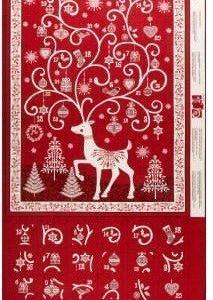 Panel de calendario de adviento en azul con papa Noel