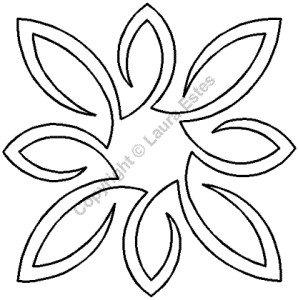 Plantilla de acolchado cuadrada de medallón de hojas pequeña