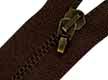 Cremallera marrón metálica con mosquetón de 25 cm