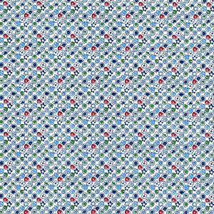 Florecitas en claros sobre azul