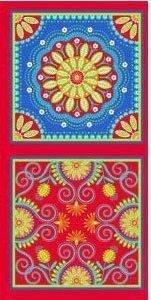 Tela con motips geométricos pequeños en colores vivos.Free spirit