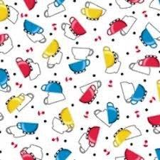 Tela de tazas de colores sobre blanco de Quilting treasures