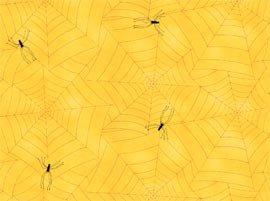 Tela con telas de araña sobre naranja de quilting treasures