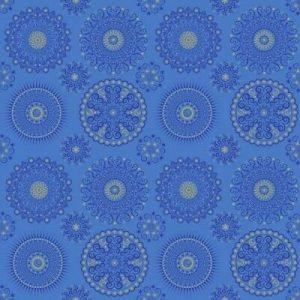 Tela de soles y lunas sobre azul de quilting treasures