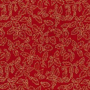 Tela de estrellitas doradas grandes y pequeñas sobre rojo navidad