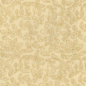 Tela de hojas de acebo doradas sobre verde navidad