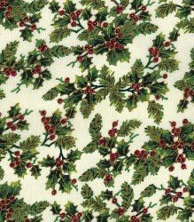 Tela navideña de arboles dorados sobre verde
