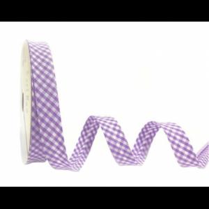 Cinta de bies de cuadritos vichy lila en diagonal de 18mm (cuadritos 3mm)