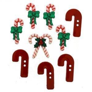 Botones con motivos navideños en vidrieras