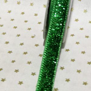 Rollo de cinta verde con brillantina de 10mm
