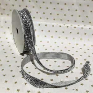 Rollo de cinta plateada con brillantina de 10mm