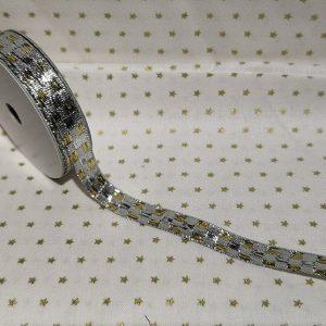 Rollo de cinta dorada con cuadritos en plata de 10mm