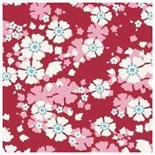 Flores medianas rosas sobre fondo rojo .Woodland.Tilda