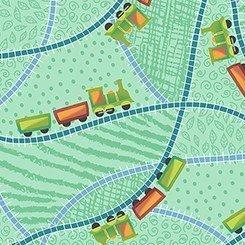 Tela de sombrillitas sobre verde Quilting treasures