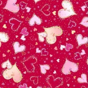 Tela de corazones rojos sobre granate.Quilting treasures