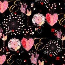 Tela de corazones rosas sobre rojo .Quilting treasures