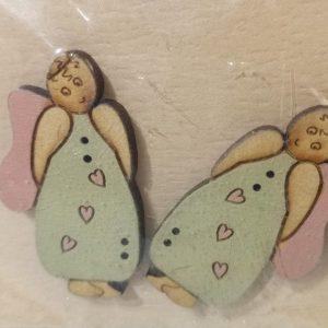 Botones de 2 angeles de madera vestidos de azul