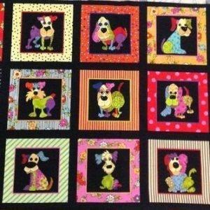 Fila de perros en cuadros sobre negro de Loralie