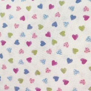 Tela de corazones de colores sobre rosa de 1,50