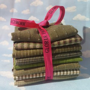 Paquete de telas japonesas en verdes y beiges