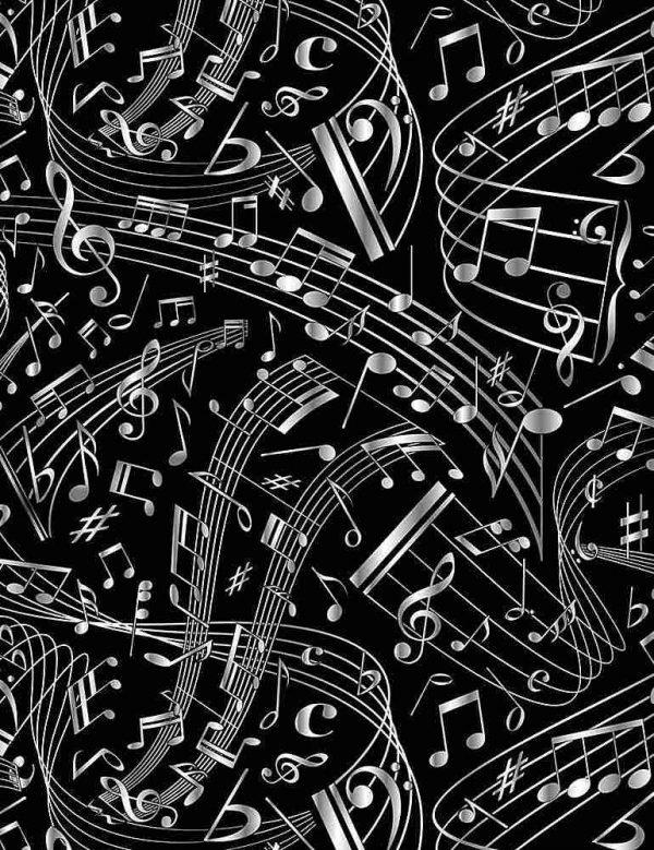 Tela de pentagramas en negro sobre blanco de timeless treasures