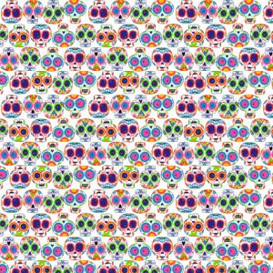 Calaveras de colores pequeñas sobre blanco