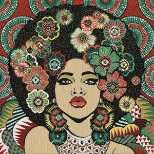 Chica con las uñas pintadas de loneta de 49x49cm