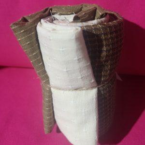 Paquete de restos en verdes y beiges de telas japonesas