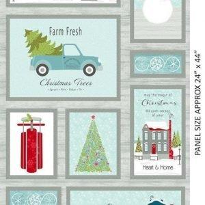 Panel de Papa Noel con los elfos y arbol de navidad
