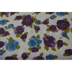 Retel de lino con flores azules y moradas (26cmx1.50)
