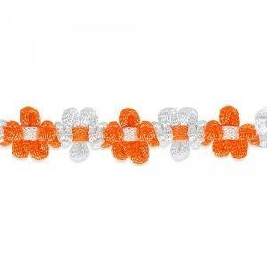 Cinta decorativa de flores en naranja y blanco