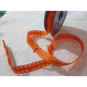 Cremallera japonesa naranja con puntilla por metros