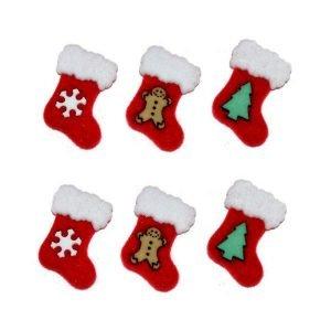 Botones con botitas navideñas en rojo