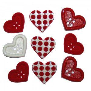 Botones de corazones en rojo y lunares